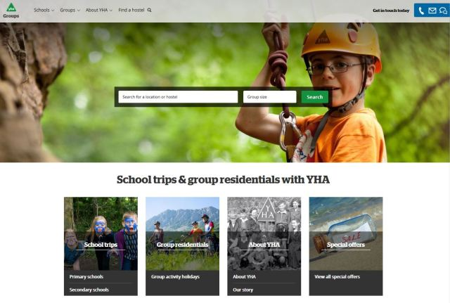 YHA web site